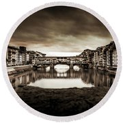 Ponte Vecchio In Sepia Round Beach Towel by Sonny Marcyan