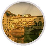 Round Beach Towel featuring the photograph Ponte Vecchio Morning Florence Italy by Joan Carroll