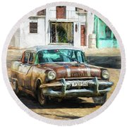 Round Beach Towel featuring the photograph Pontiac Havana by Lou Novick