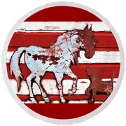 Round Beach Towel featuring the photograph Pony And Pup by Larry Campbell