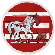 Pony And Pup Round Beach Towel