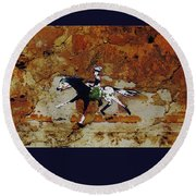 Pony Express Rider Round Beach Towel by Larry Campbell