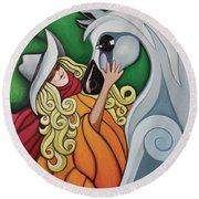 Pony Girl #1 Round Beach Towel