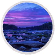 Pony Pasture Sunset Round Beach Towel