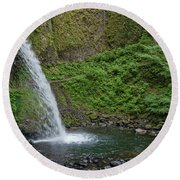 Round Beach Towel featuring the photograph Ponytail Falls by Greg Nyquist