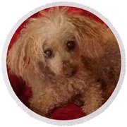 Poodle Love Round Beach Towel