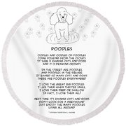 Round Beach Towel featuring the drawing Poodles by John Haldane