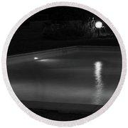 Pool At Night 2 Round Beach Towel