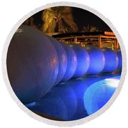 Round Beach Towel featuring the photograph Pool Balls At Night by Shane Bechler