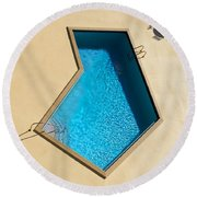 Round Beach Towel featuring the photograph Pool Modern by Laura Fasulo