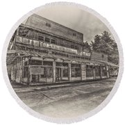 Poole's Crossroads In Sepia Round Beach Towel