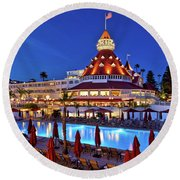 Poolside At The Hotel Del Coronado  Round Beach Towel by Sam Antonio Photography