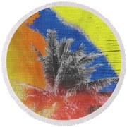Pop Art Coconut Tree Retro Tropical Vintage Palm  Round Beach Towel