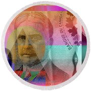 Pop-art Colorized New One Hundred Canadian Dollar Bill Round Beach Towel