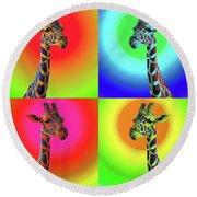 Pop Art Giraffe Round Beach Towel