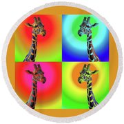 Pop Art Giraffe Round Beach Towel
