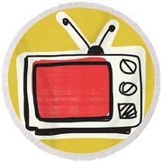 Pop Art Tv- Art By Linda Woods Round Beach Towel