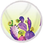 Pop Cacti - Purple Yellow Round Beach Towel