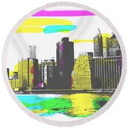 Pop City Skyline Round Beach Towel