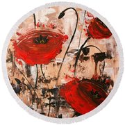 Pop Goes The Poppies Round Beach Towel