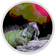 Round Beach Towel featuring the painting Pop Iguana by Judy Kay