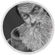 Popcorn Sutton Black And White Transparent - T-shirts Round Beach Towel