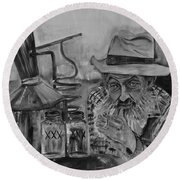 Popcorn Sutton - Black And White - Waiting On Shine Round Beach Towel