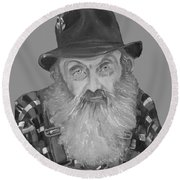 Popcorn Sutton Moonshiner Bust - T-shirt Transparent B And  W Round Beach Towel