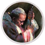 Pope John Paul II Round Beach Towel