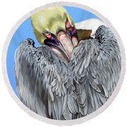 Popeye The Pelican Round Beach Towel by Phyllis Beiser