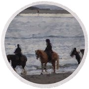 #popham Pony Ride Round Beach Towel