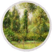 Round Beach Towel featuring the painting Poplars - Eragny by Camille Pissaro