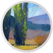 Poplars Round Beach Towel