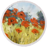 Poppies 3 Round Beach Towel