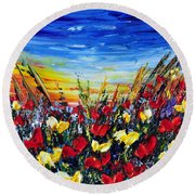 Poppies 4 Round Beach Towel