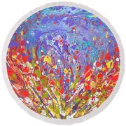 Poppies Abstract Meadow Painting Round Beach Towel