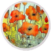 Poppies Abstraction Round Beach Towel