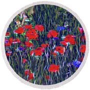 Poppies And Bachelor Buttons Round Beach Towel