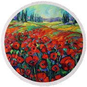 Poppies And Cypresses - Modern Impressionist Palette Knives Oil Painting Round Beach Towel