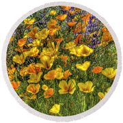 Round Beach Towel featuring the photograph Poppies And Lupines by Jim and Emily Bush