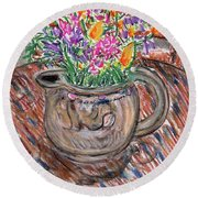 Poppies And Lupines In Pitcher Round Beach Towel
