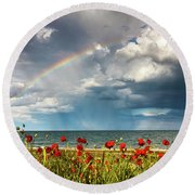 Poppies And Rainbow By The Sea Round Beach Towel
