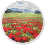 Poppies And Thunderclouds Round Beach Towel