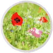 Poppies And Wildflowers Round Beach Towel