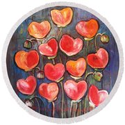 Poppies Are Hearts Of Love We Can Give Away Round Beach Towel