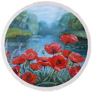 Poppies At Peaceful Pond Round Beach Towel by Elena Antakova