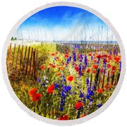 Poppies By The Sea Round Beach Towel