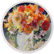 Poppies, Clematis, And Daffodils In Porcelain Vase. Round Beach Towel