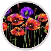 Poppies Round Beach Towel by DC Langer