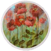 Poppies In Pastel Watercolour Round Beach Towel